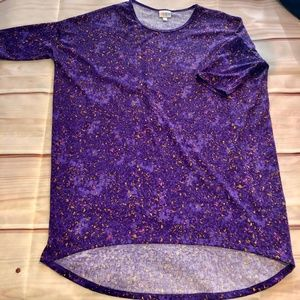LuLaRoe Irma Hi Low Purple Abstract Top S EUC